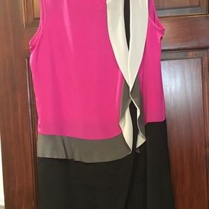 Size 14 silk pink and black knee length dress